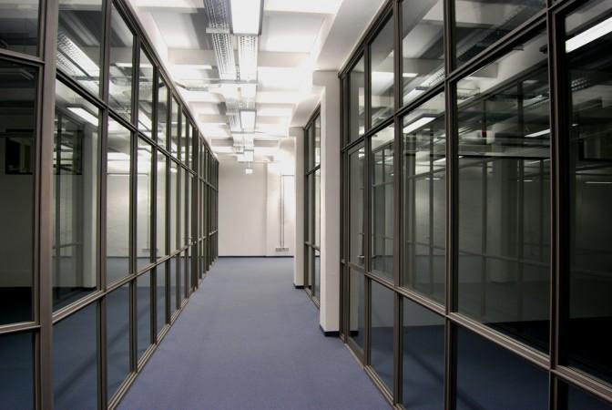Stahl, Glaswand für Büro