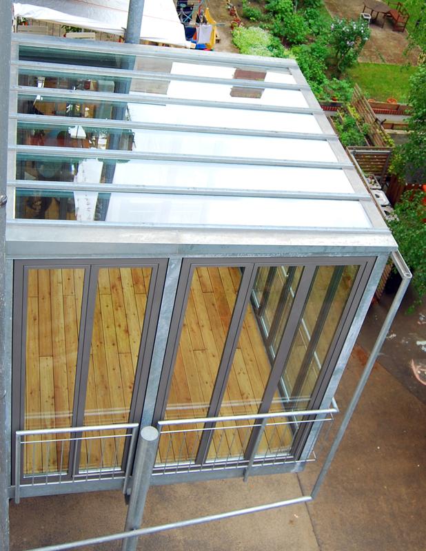 Häufig Balkon mit Glasdach | Stahlblau XL22