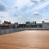 Schlosserarbeiten, Dachterrassen aus Stahl und Lärche, Geländern und Einhausungen aus Streckgitter. BV: Erkelenzdamm Deepstahl GmbH , Berlin 2017